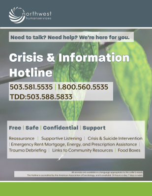 CRISIS & INFO HOTLINE POSTER | Print and post this for yourself, or anywhere people who need it will see it.